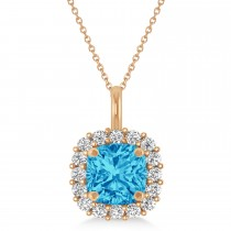 Cushion Cut Blue Topaz & Diamond Halo Pendant 14k Rose Gold (0.92ct)