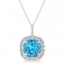 Cushion Cut Blue Topaz & Diamond Halo Pendant 14k White Gold (0.92ct)