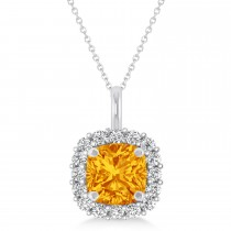 Cushion Cut Citrine & Diamond Halo Pendant 14k White Gold (0.92ct)