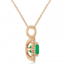 Cushion Cut Emerald & Diamond Halo Pendant 14k Rose Gold (0.92ct)