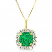 Cushion Cut Emerald & Diamond Halo Pendant 14k Yellow Gold (0.92ct)