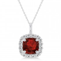 Cushion Cut Garnet & Diamond Halo Pendant 14k White Gold (0.92ct)
