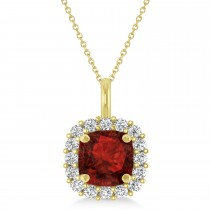 Cushion Cut Garnet & Diamond Halo Pendant 14k Yellow Gold (0.92ct)