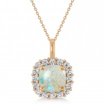 Cushion Cut Opal & Diamond Halo Pendant 14k Rose Gold (0.92ct)