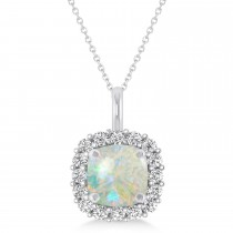 Cushion Cut Opal & Diamond Halo Pendant 14k White Gold (0.92ct)