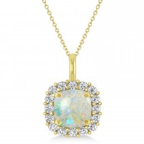 Cushion Cut Opal & Diamond Halo Pendant 14k Yellow Gold (0.92ct)