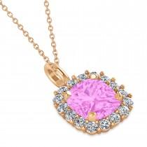 Cushion Cut Pink Sapphire & Diamond Halo Pendant 14k Rose Gold (0.92ct)