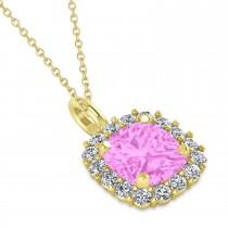 Cushion Cut Pink Sapphire & Diamond Halo Pendant 14k Yellow Gold (0.92ct)