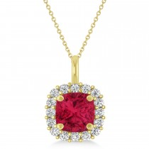 Cushion Cut Ruby & Diamond Halo Pendant 14k Yellow Gold (0.92ct)