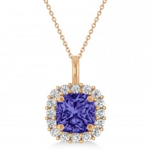 Cushion Cut Tanzanite & Diamond Halo Pendant 14k Rose Gold (0.92ct)