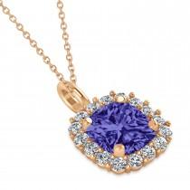 Cushion Cut Tanzanite & Diamond Halo Pendant 14k Rose Gold (0.92ct)