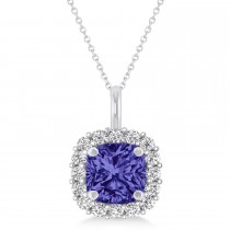 Cushion Cut Tanzanite & Diamond Halo Pendant 14k White Gold (0.92ct)