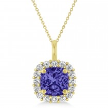Cushion Cut Tanzanite & Diamond Halo Pendant 14k Yellow Gold (0.92ct)