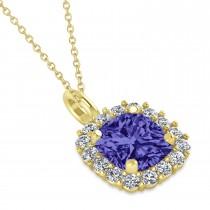 Cushion Cut Tanzanite & Diamond Halo Pendant 14k Yellow Gold (0.92ct)