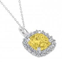 Cushion Cut Yellow & White Diamond Halo Pendant 14k White Gold (0.78ct)