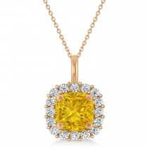 Cushion Cut Yellow Sapphire & Diamond Halo Pendant 14k Rose Gold (0.92ct)