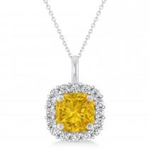 Cushion Cut Yellow Sapphire & Diamond Halo Pendant 14k White Gold (0.92ct)
