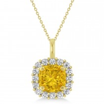 Cushion Cut Yellow Sapphire & Diamond Halo Pendant 14k Yellow Gold (0.92ct)
