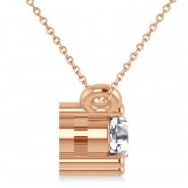 Three Stone Diamond Pendant Necklace 14k Rose Gold (0.45ct)