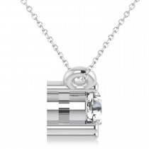 Three Stone Diamond Pendant Necklace 14k White Gold (0.45ct)