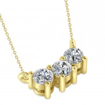 Three Stone Diamond Pendant Necklace 14k Yellow Gold (0.45ct)