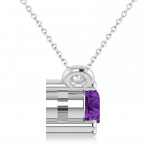 Three Stone Diamond & Amethyst Pendant Necklace 14k White Gold (0.45ct)