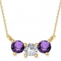 Three Stone Diamond & Amethyst Pendant Necklace 14k Yellow Gold (0.45ct)