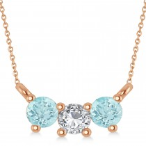 Three Stone Diamond & Aquamarine Pendant Necklace 14k Rose Gold (0.45ct)