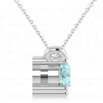 Three Stone Diamond & Aquamarine Pendant Necklace 14k White Gold (0.45ct)|escape