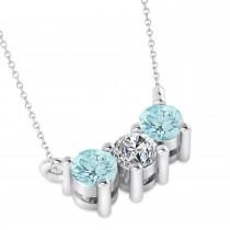 Three Stone Diamond & Aquamarine Pendant Necklace 14k White Gold (0.45ct)