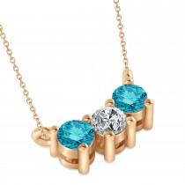 Three Stone Diamond & Blue Diamond Pendant Necklace 14k Rose Gold (0.45ct)