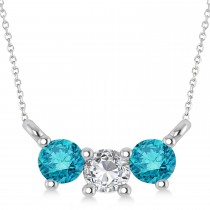 Three Stone Diamond & Blue Diamond Pendant Necklace 14k White Gold (0.45ct)
