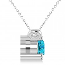 Three Stone Diamond & Blue Diamond Pendant Necklace 14k White Gold (0.45ct)