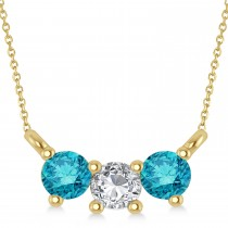 Three Stone Diamond & Blue Diamond Pendant Necklace 14k Yellow Gold (0.45ct)