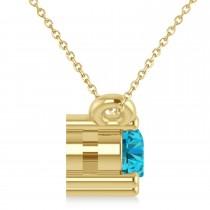 Three Stone Diamond & Blue Diamond Pendant Necklace 14k Yellow Gold (0.45ct)