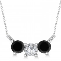 Three Stone Diamond & Black Diamond Pendant Necklace 14k White Gold (0.45ct)