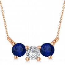 Three Stone Diamond & Blue Sapphire Pendant Necklace 14k Rose Gold (0.45ct)