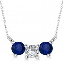 Three Stone Diamond & Blue Sapphire Pendant Necklace 14k White Gold (0.45ct)