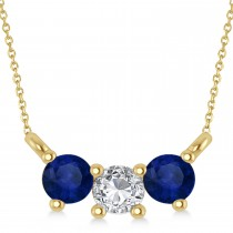 Three Stone Diamond & Blue Sapphire Pendant Necklace 14k Yellow Gold (0.45ct)