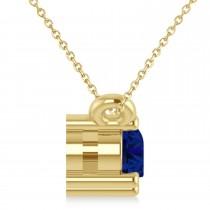 Three Stone Diamond & Blue Sapphire Pendant Necklace 14k Yellow Gold (0.45ct)