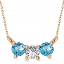 Three Stone Diamond & Blue Topaz Pendant Necklace 14k Rose Gold (0.45ct)