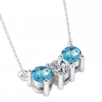 Three Stone Diamond & Blue Topaz Pendant Necklace 14k White Gold (0.45ct)