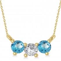 Three Stone Diamond & Blue Topaz Pendant Necklace 14k Yellow Gold (0.45ct)