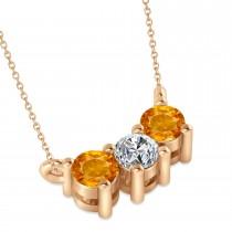 Three Stone Diamond & Citrine Pendant Necklace 14k Rose Gold (0.45ct)
