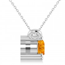 Three Stone Diamond & Citrine Pendant Necklace 14k White Gold (0.45ct)