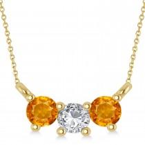 Three Stone Diamond & Citrine Pendant Necklace 14k Yellow Gold (0.45ct)