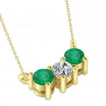 Three Stone Diamond & Emerald Pendant Necklace 14k Yellow Gold (0.45ct)