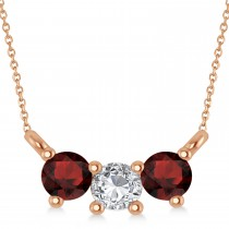 Three Stone Diamond & Garnet Pendant Necklace 14k Rose Gold (0.45ct)