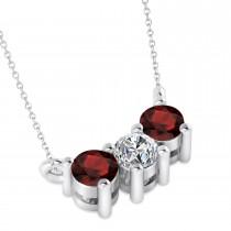 Three Stone Diamond & Garnet Pendant Necklace 14k White Gold (0.45ct)