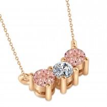 Three Stone Diamond & Morganite Pendant Necklace 14k Rose Gold (0.45ct)